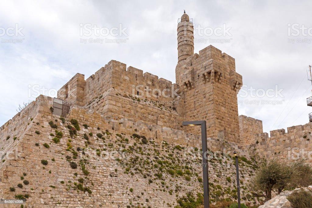 Ancient Citadel inside Old City, Jerusalem stock photo