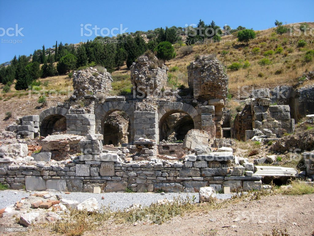 remains of columns and ruins of ancient city Ephesus, Turkey