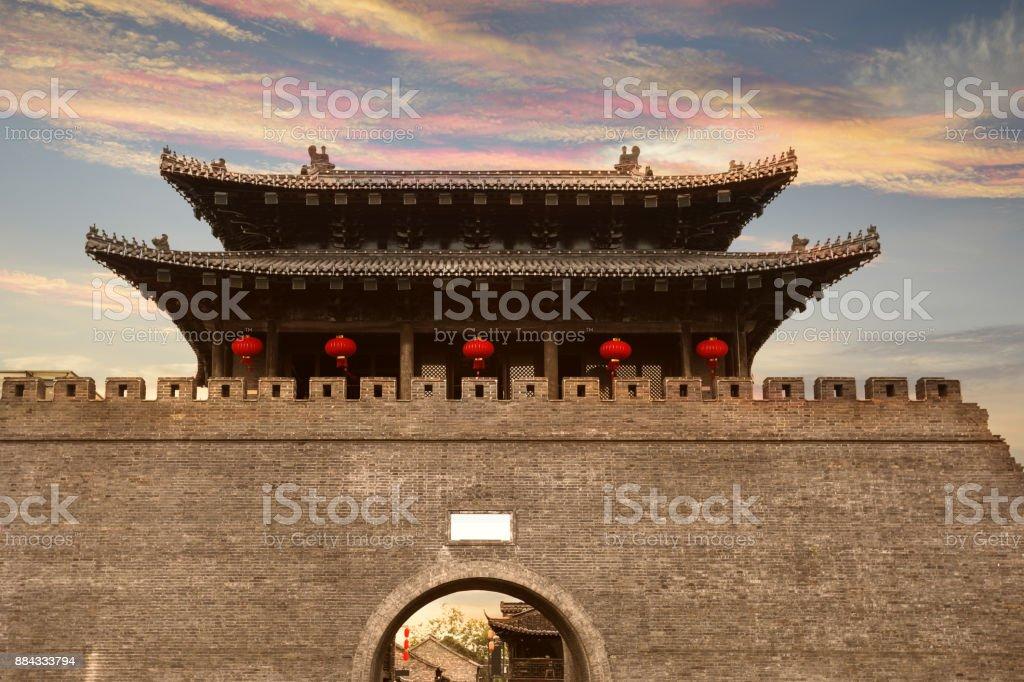 ancient city gate of China, in yangzhou, jiangsu province stock photo