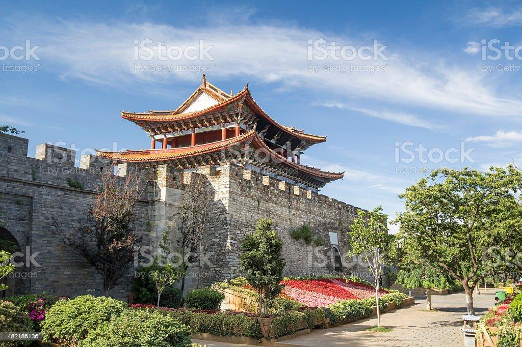 Ancient city gate of Dali old town area ,Yunnan China stock photo
