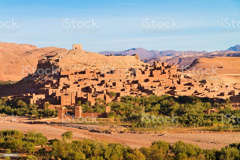 Panorama of the ancient moroccan kasbah Ait Benhaddou, near...
