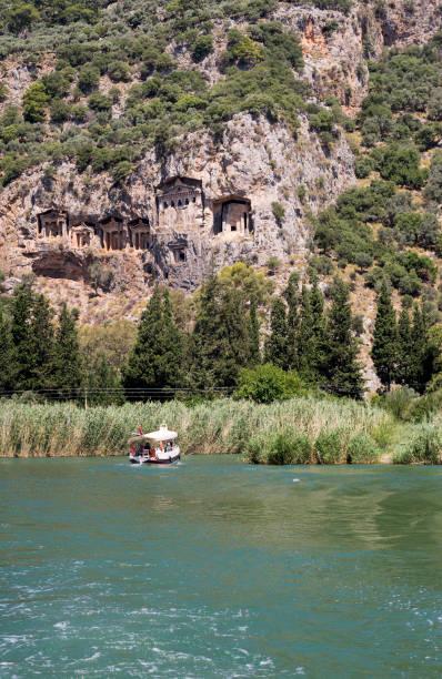 Ancient City of Caunos and Rock King Tombs in Dalyan, Ortaca, Muğla, Turkey stock photo