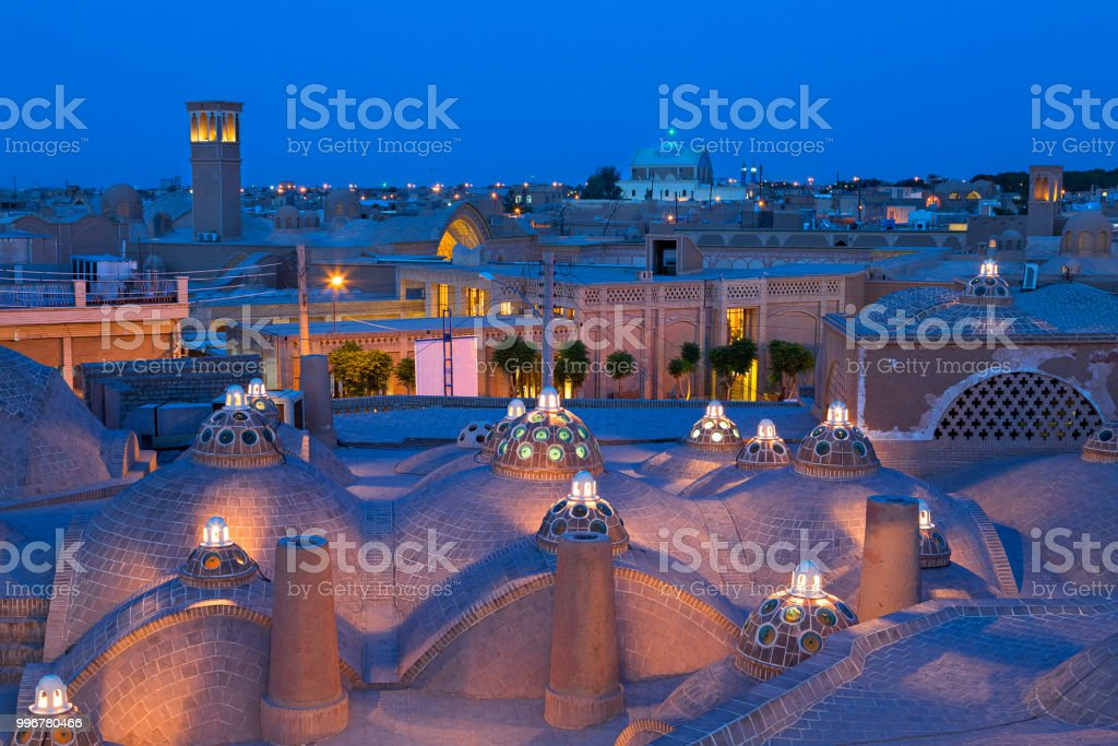 Ancient city of Kashan in Iran, at the twilight. stock photo