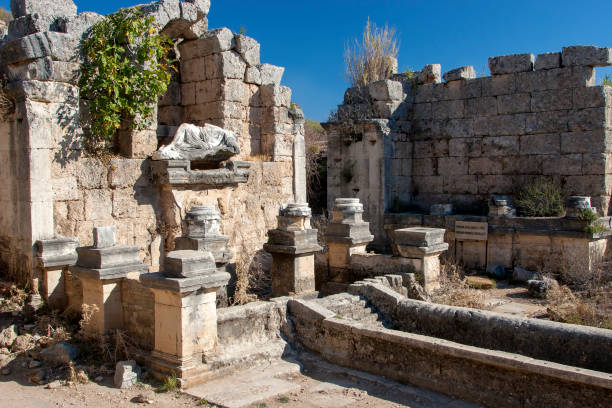 Ancient city of Perge, fountain and pool, Antalya, Turkey. stock photo