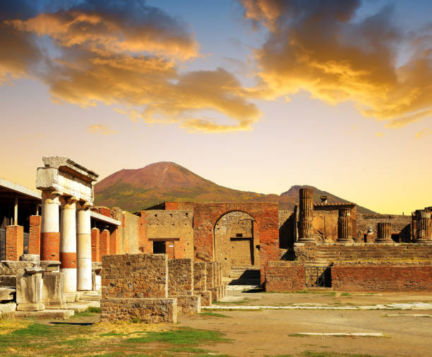 Ancient city of Pompeii at sunset, Italy. stock photo