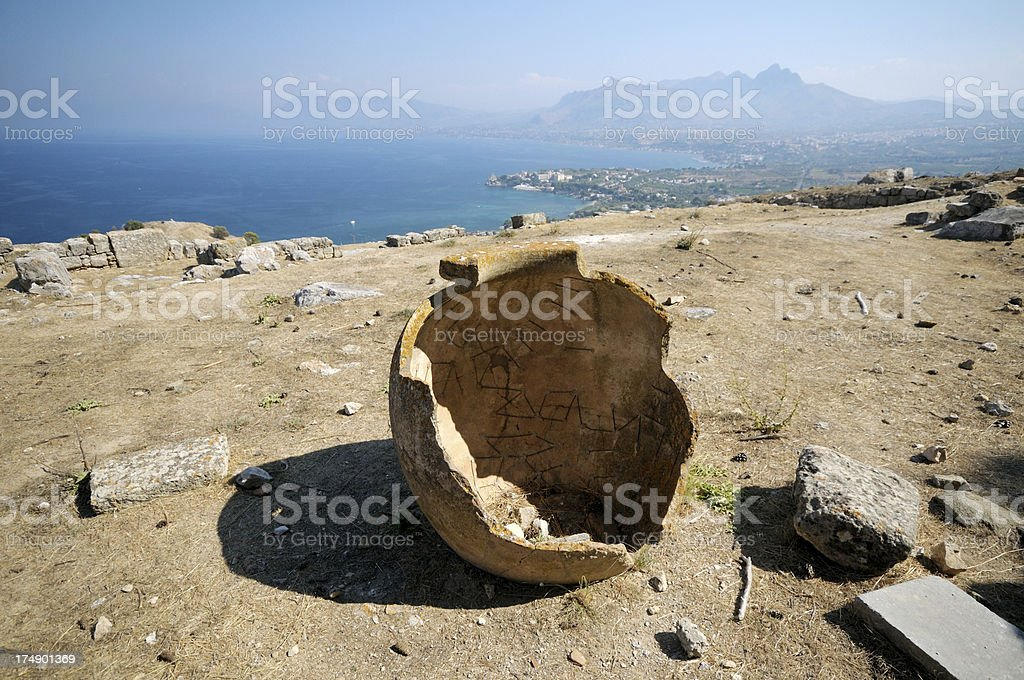 Ancient city of Solunto in Sicily stock photo