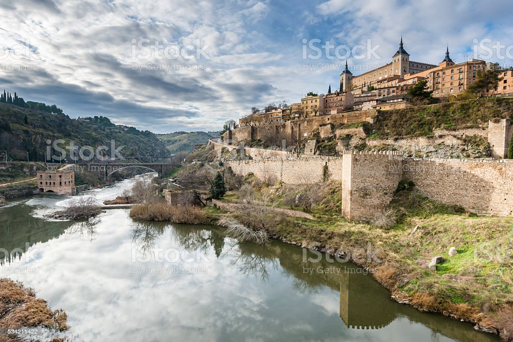 Ancient city of Toledo on the Tagus river (Tajo). Spain. stock photo