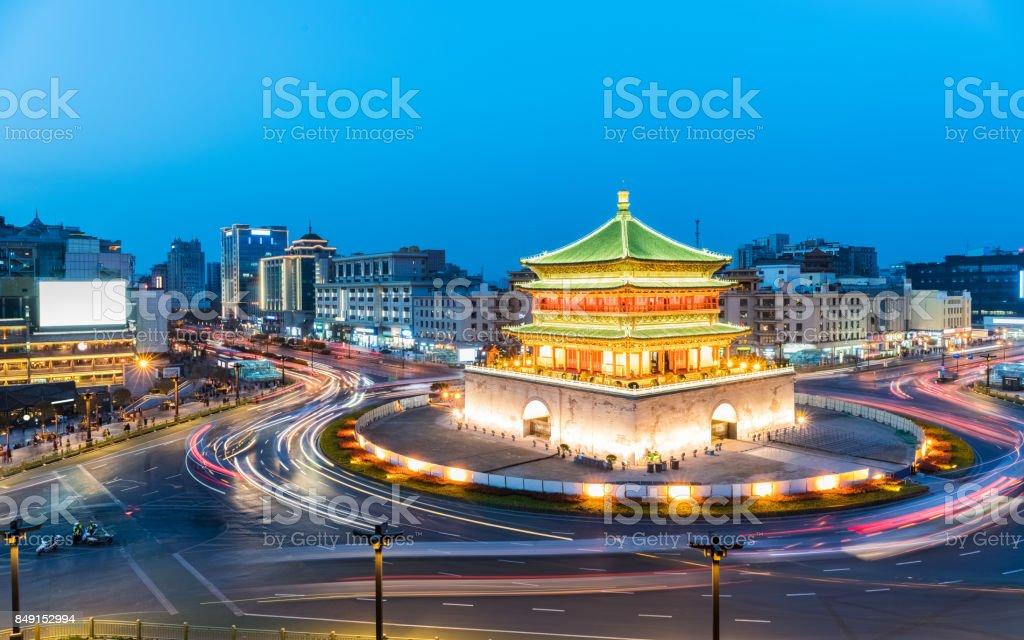 ancient city of xian in nightfall stock photo