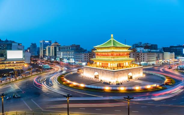 Altstadt von Xian bei Einbruch der Dunkelheit – Foto