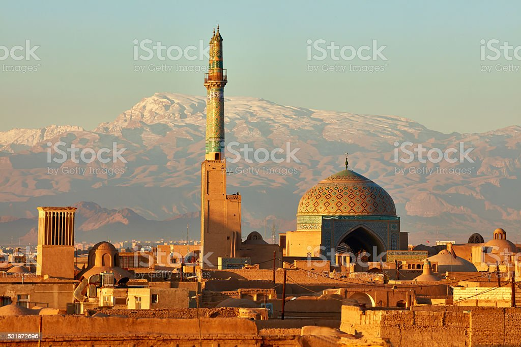 Ancient city of Yazd in sunrise lights. Iran stock photo