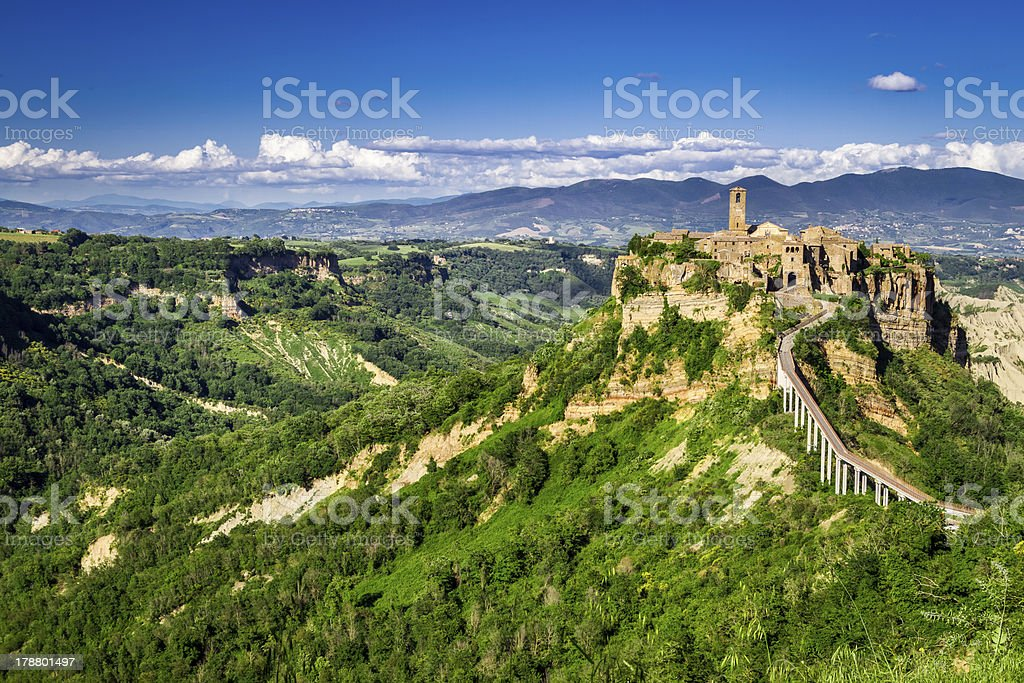 Ancient city on hill in Tuscany. royalty-free stock photo