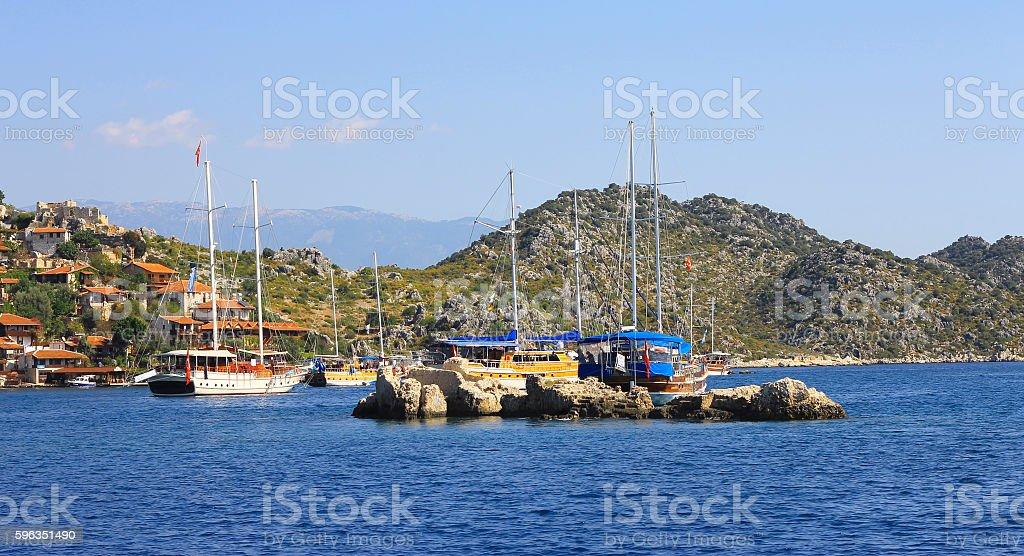 Ancient city on the seashore of Kekova Turkey Lizenzfreies stock-foto