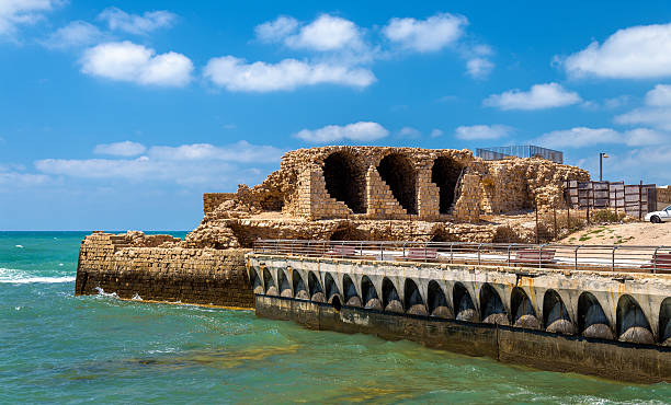 Ancient City Walls of Acre - Israel stock photo