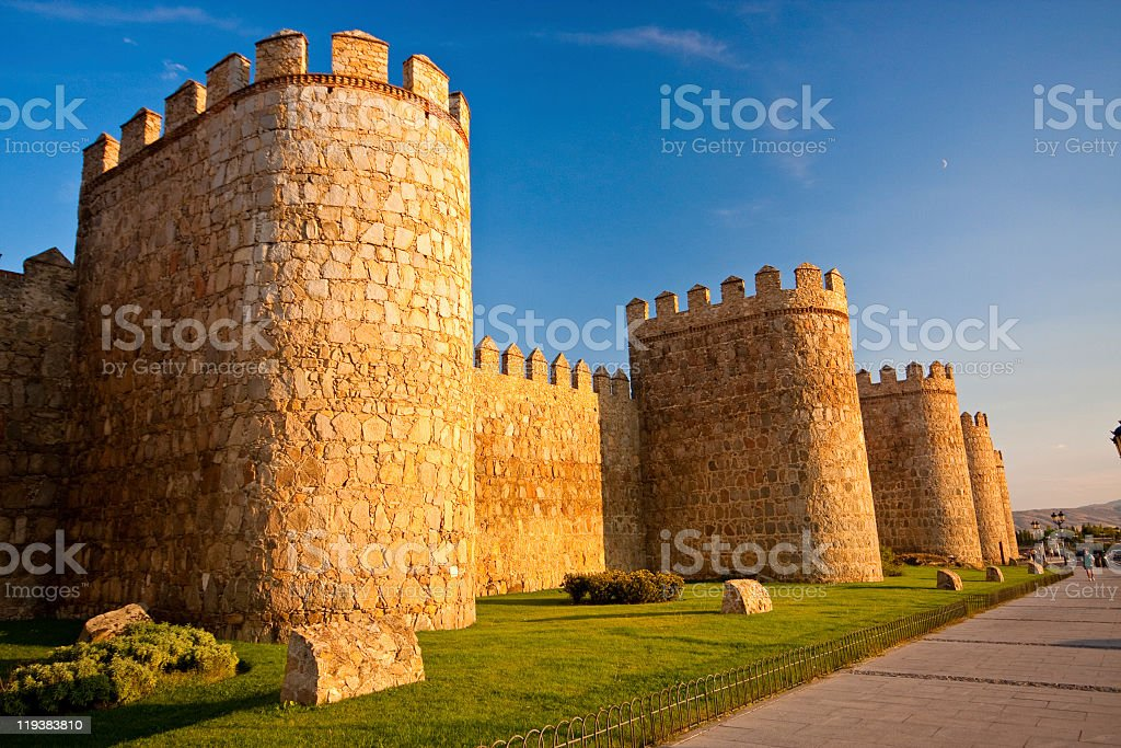 Ancient City Walls of Avila, Spain stock photo