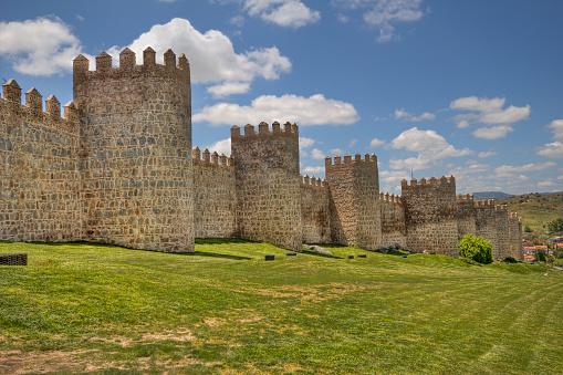 Ancient city walls of Avila, Spain