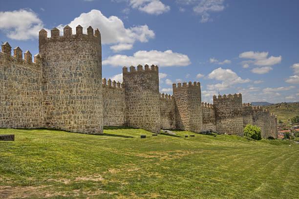 ancient city walls of avila, spain - fort bildbanksfoton och bilder