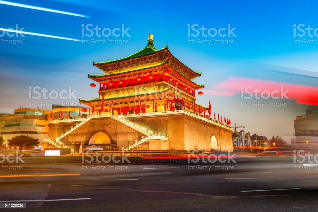 ancient city xian bell tower in nightfall stock photo