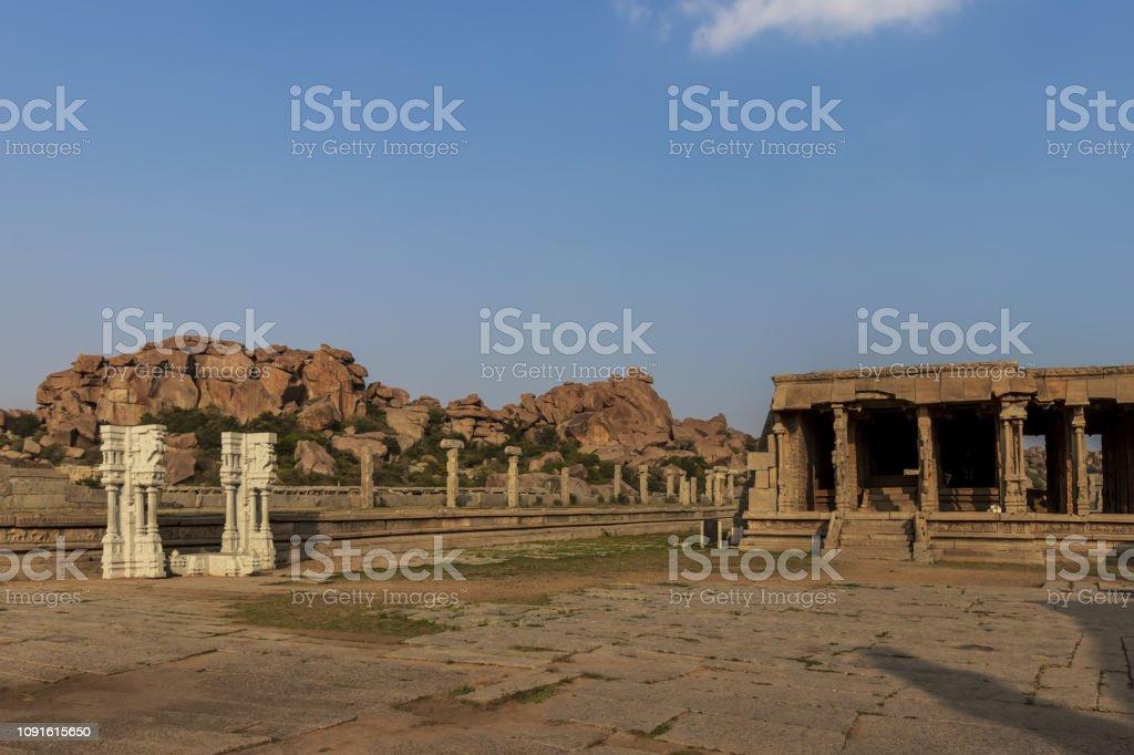 Ancient civilization in Hampi. India, State Karnataka. Old Hindu...