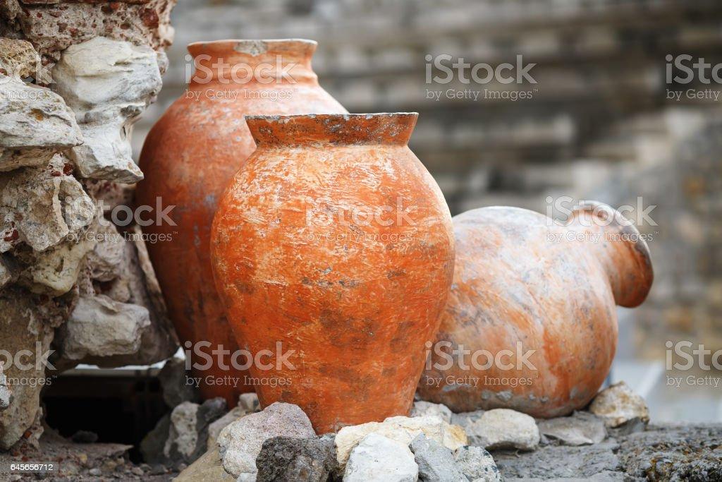 Ancient clay vases stock photo