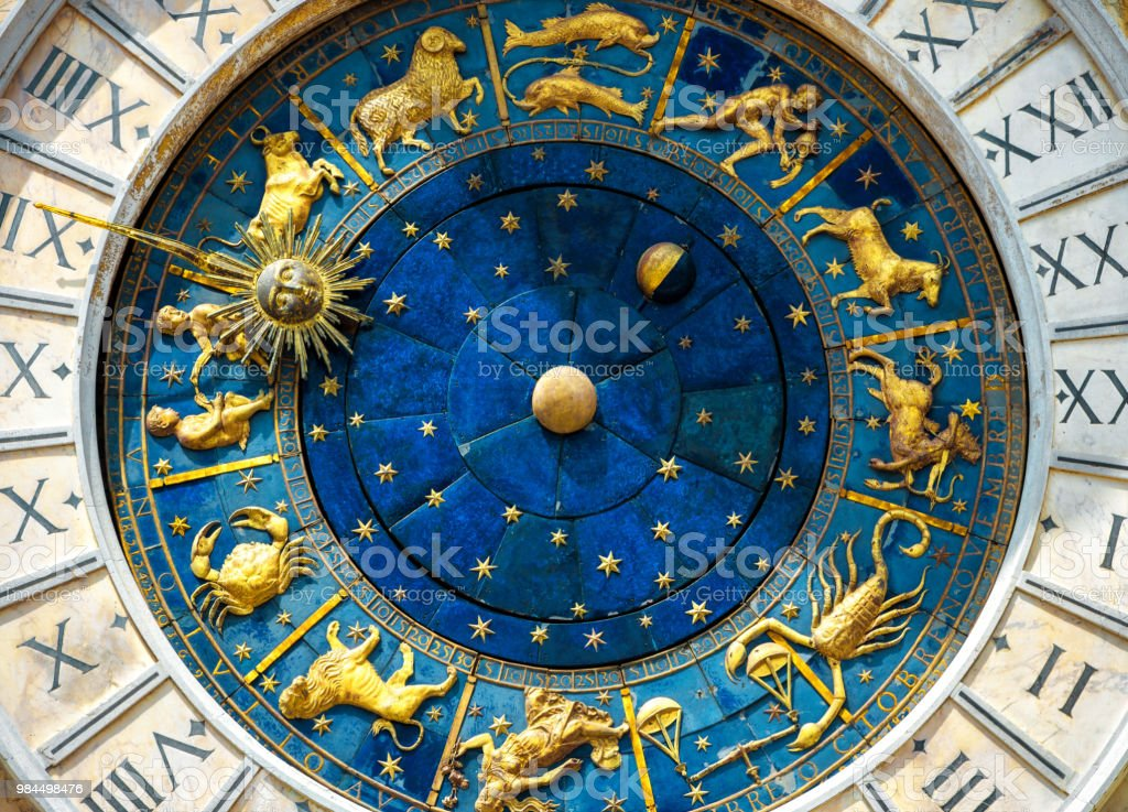 Ancient clock Torre dell'Orologio in Venice stock photo
