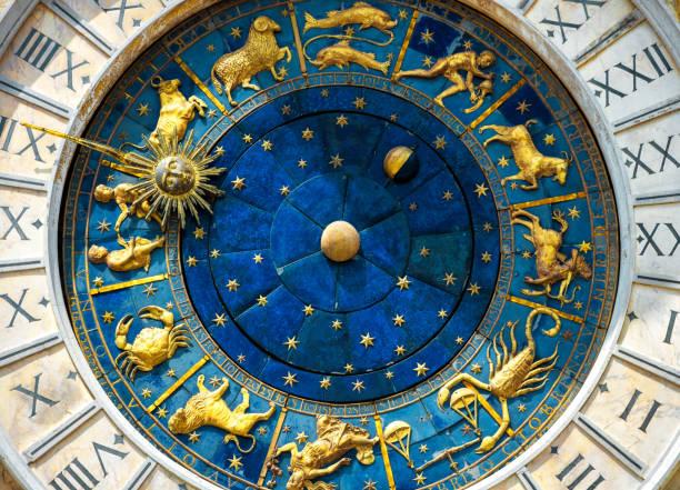 Ancient clock Torre dell'Orologio in Venice stock photo