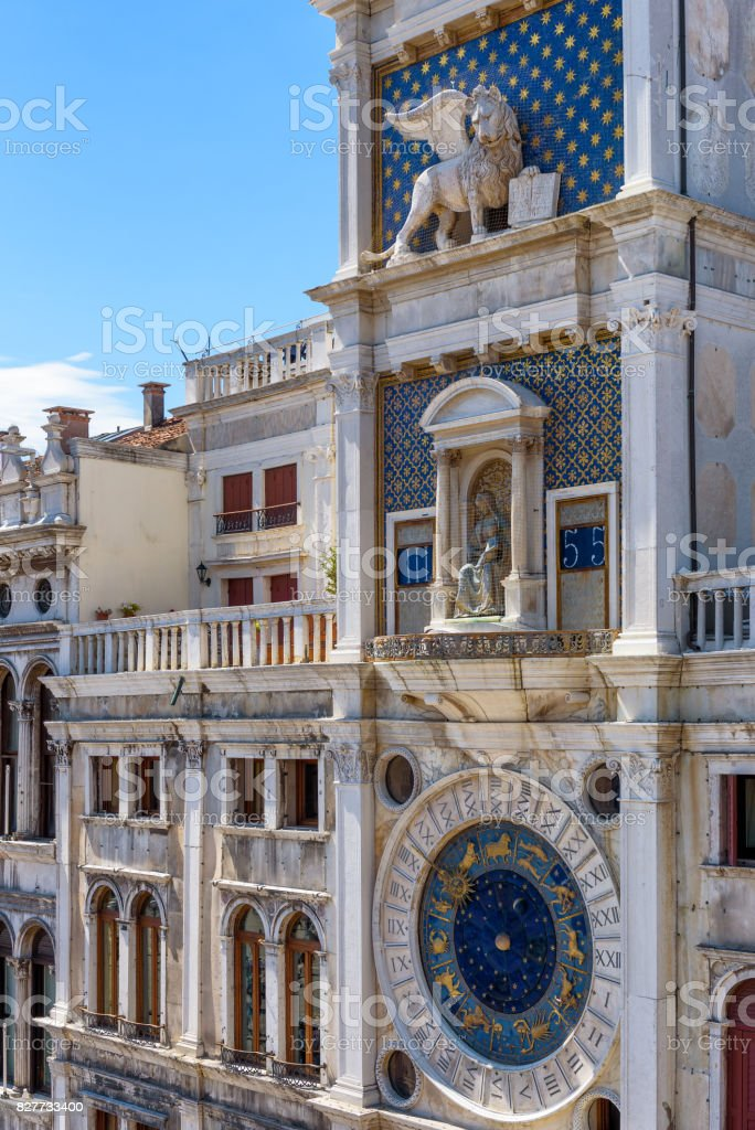 Ancient Clock tower in Venice, Italy stock photo