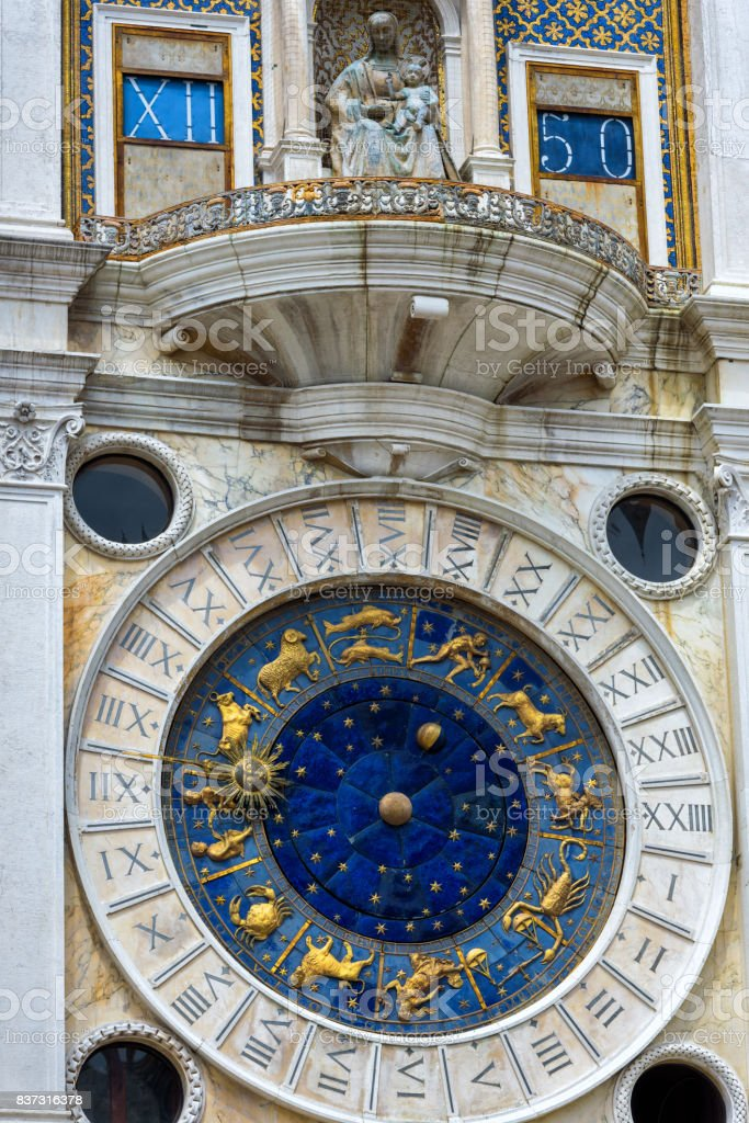 Ancient Clock Tower in Venice stock photo