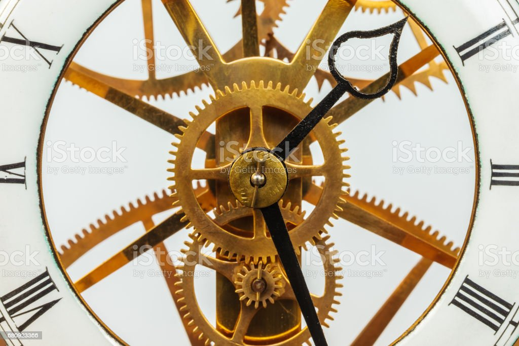 Ancient clock with gears stock photo
