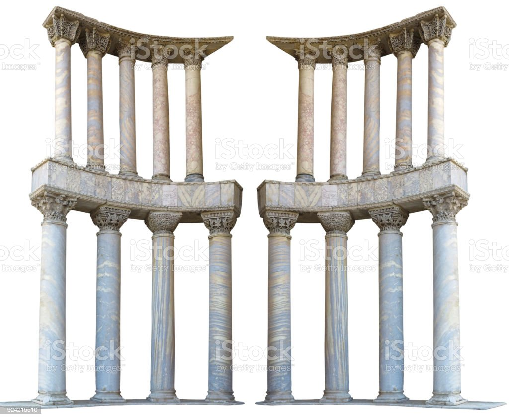 Ancient Colonnade Marble Stone Columns Isolated On White