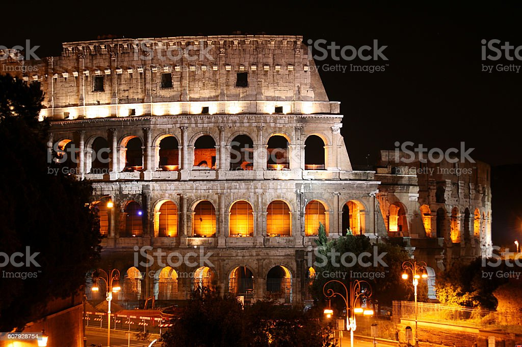 Ancient Colosseum at night, Rome, Italy stock photo