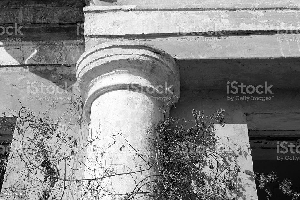 Ancient column closeup / black and white photo zbiór zdjęć royalty-free