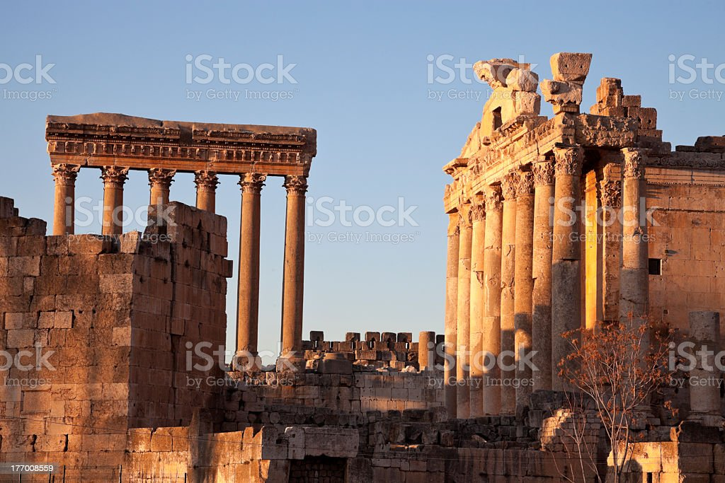 Ancient columns and remnants on site at Baalbek ruins stock photo