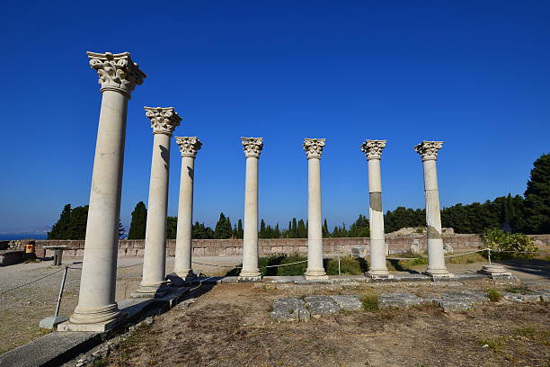 ancient columns at Asclepium in Kos island in Greece stock photo