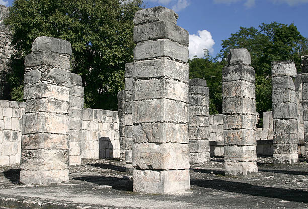 ancient columns at Chichen Itza stock photo