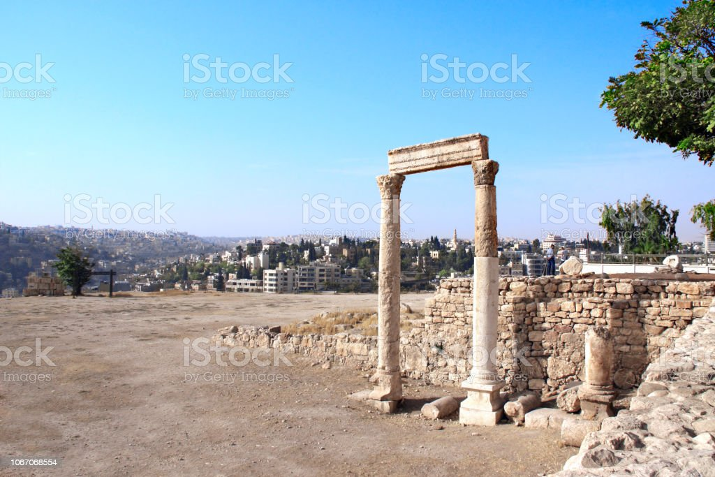 Ancient Columns In Amman Citadel Amman Jordan Stock Photo