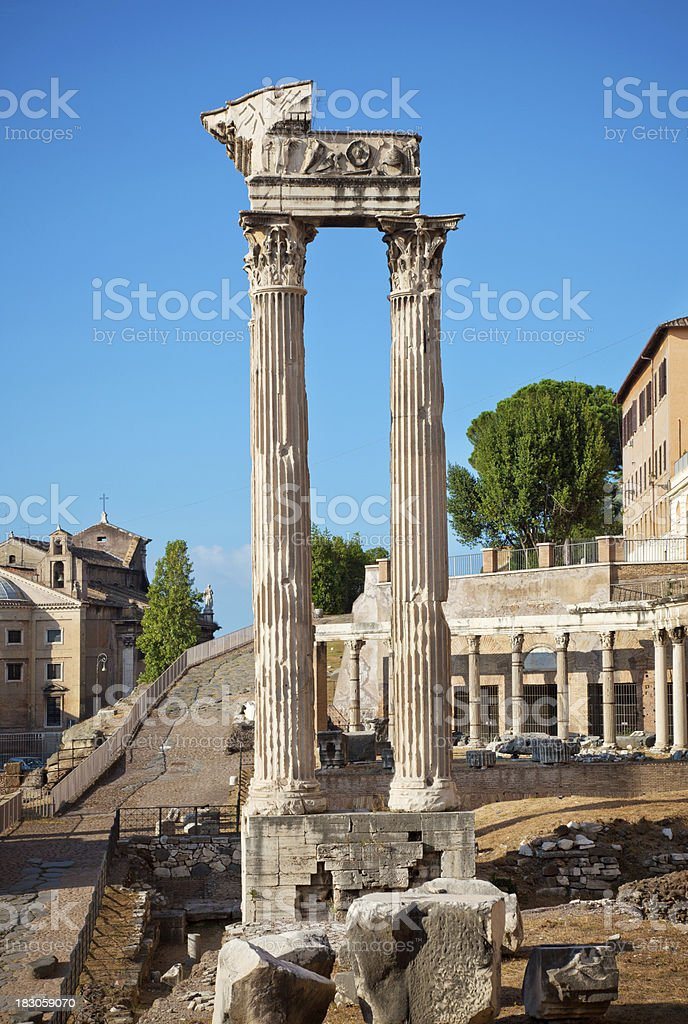 Ancient columns in Rome royalty-free stock photo