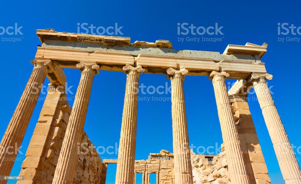Ancient columns of The Erechtheion temple stock photo