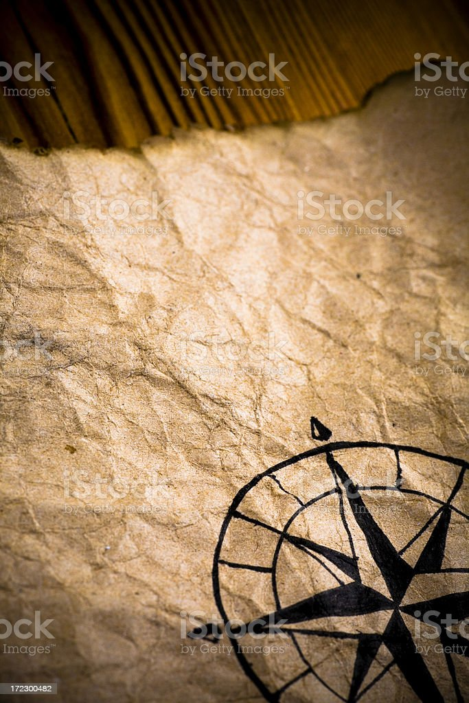 Ancient compass paper royalty-free stock photo