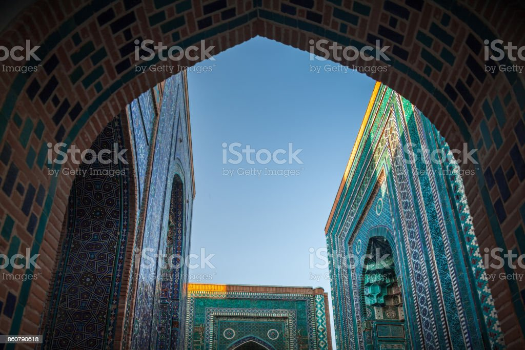 Ancient complex of buildings of Shakh i Zinda stock photo