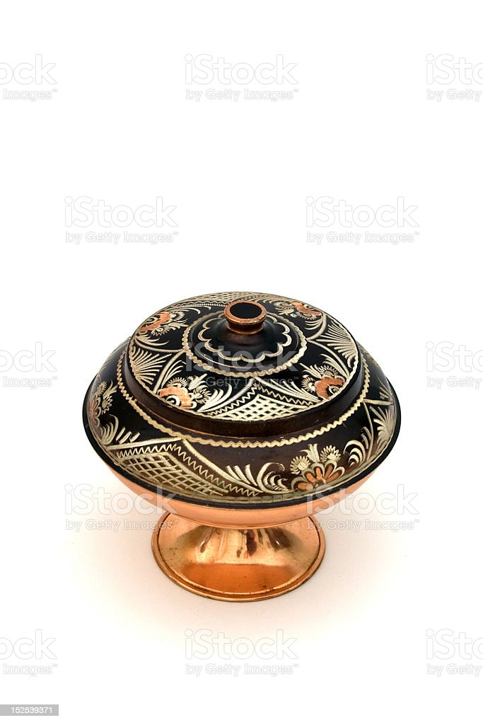 Ancient copper pot royalty-free stock photo