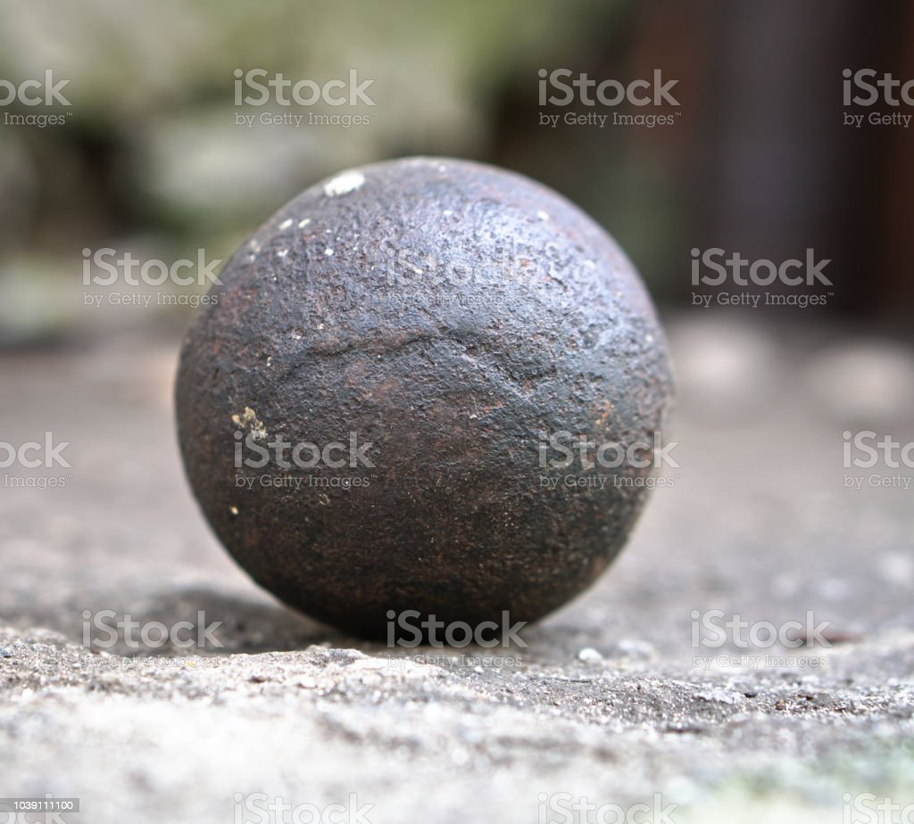 Ancient core for cannons and bullets. Antique historical artifact from the Middle Ages. stock photo