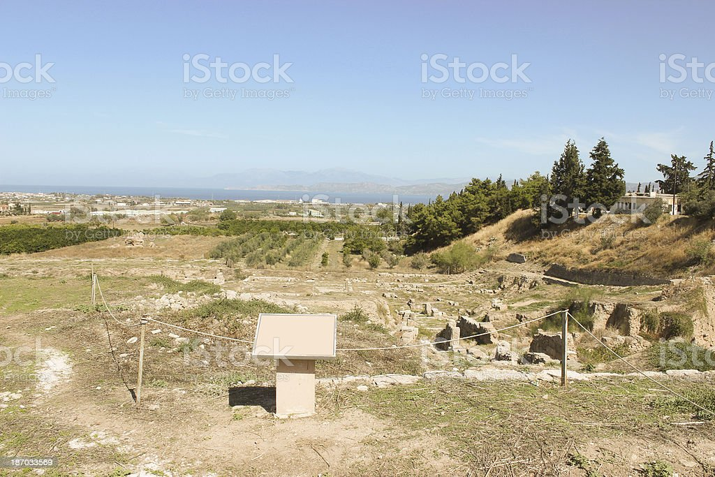 Ancient Corinth and the mediterranean ocean royalty-free stock photo