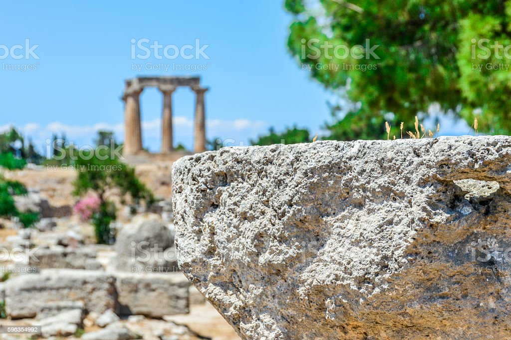 Ancient Corinth, Greece - The Temple of Apollo royalty-free stock photo