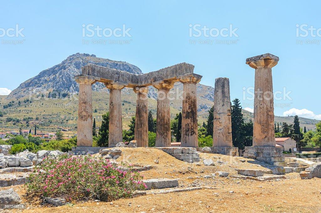 Ancient Corinth, Greece - The Temple of Apollo stock photo