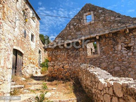 Abstract from ancient Dalmatian village Murvica, Brac island inland, Croatia.