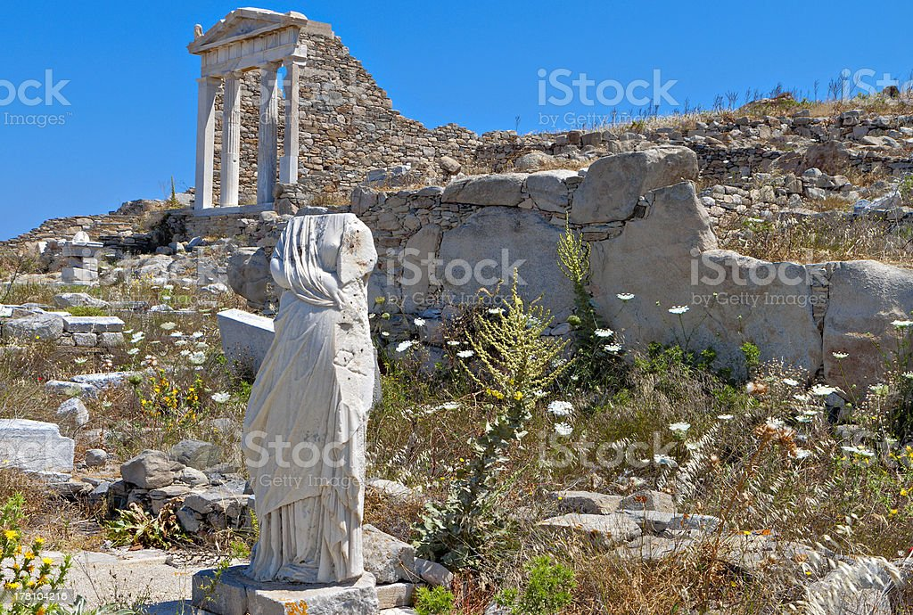 Ancient Delos island in Greece stock photo