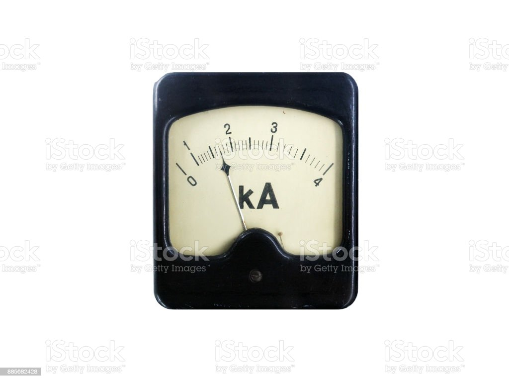 Ancient device measuring the kiloampere (kA), isolated on a white background stock photo