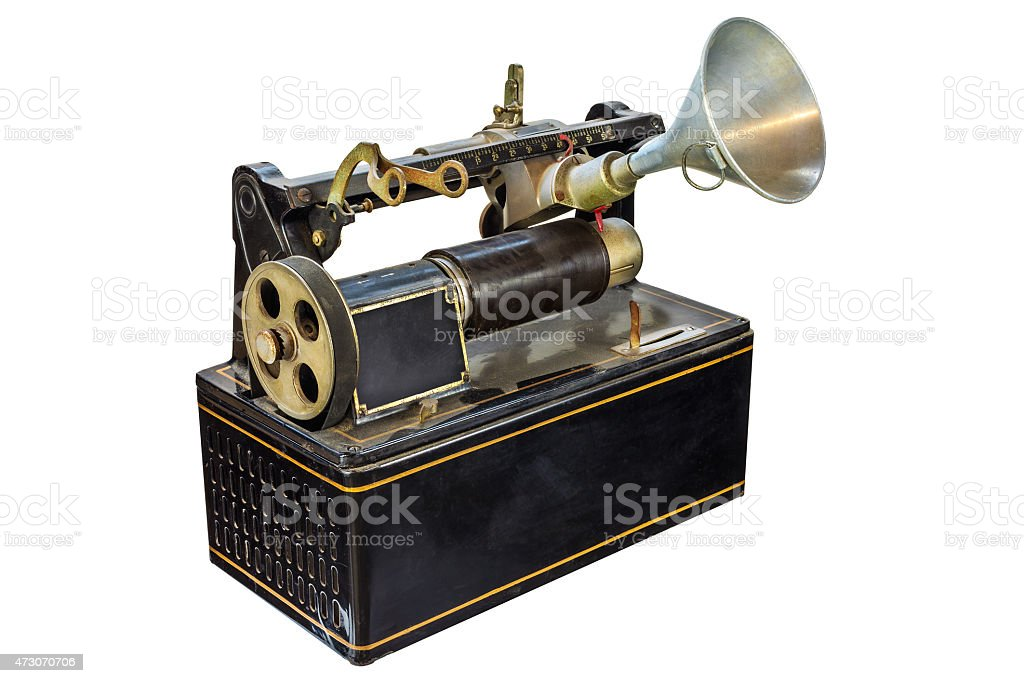 Ancient dictaphone isolated on white stock photo