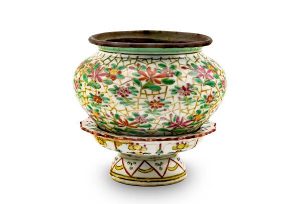Uralte schmutzige chinesische Blumen Malerei Keramikschale – Foto