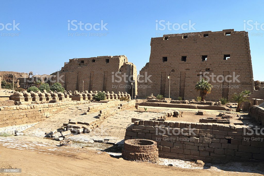 Ancient Dock and First Pylon, Karnak Temple, Luxor Egypt royalty-free stock photo